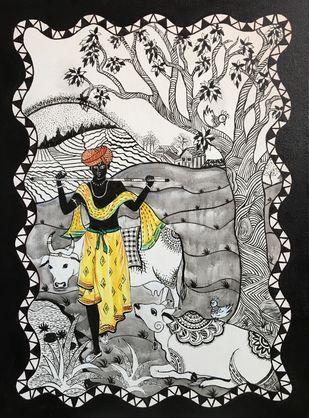 Krishna Digital Print by Anjali mittal,Expressionism