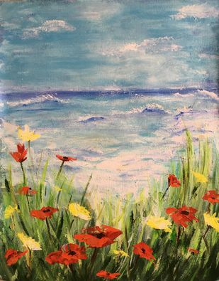 Poppies by the sea by Anjali mittal, Expressionism Painting, Acrylic on Canvas, Mantle color