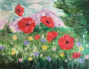 Poppies in the valley by Anjali mittal, Impressionism Painting, Acrylic on Canvas, Highland color
