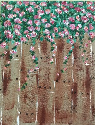 The fence by Anjali mittal, Impressionism Painting, Acrylic on Board, Makara color