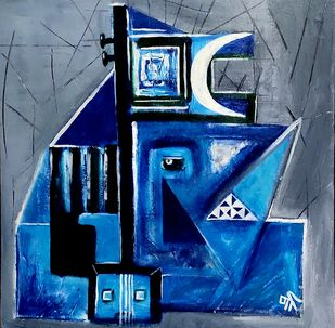 Ganesha by Sreekar, Abstract Painting, Acrylic on Canvas, Kashmir Blue color