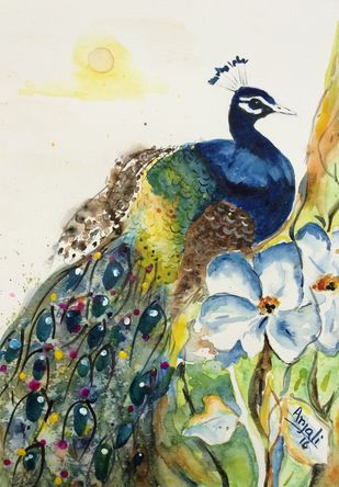 Peacock by Anjali mittal, Impressionism Painting, Acrylic & Ink on Paper, Satin Linen color