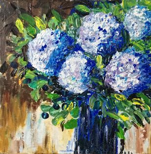Blue hydrangeas by Anjali mittal, Impressionism Painting, Acrylic on Canvas, Soft Amber color