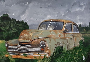 Vintage Rusted Car 02 by Tejal Bhagat, Impressionism Painting, Acrylic on Canvas, Natural Gray color