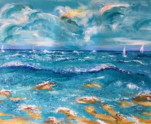 Serene by Anjali mittal, Impressionism Painting, Acrylic & Ink on Canvas, Steel Blue color