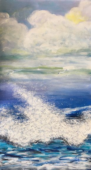 The wave by Anjali mittal, Impressionism Painting, Acrylic on Canvas, Cloud color