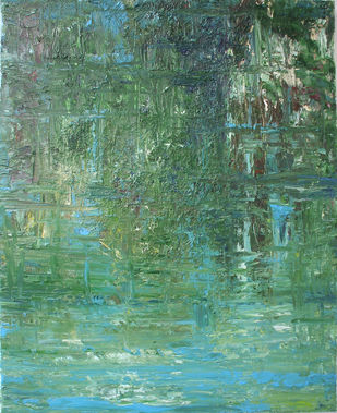 Reflection on Water by Animesh Roy, Expressionism Painting, Oil on Linen, Viridian Green color