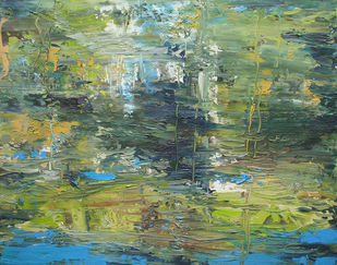 Reflection on Water-III by Animesh Roy, Expressionism Painting, Oil on Canvas, Camouflage Green color