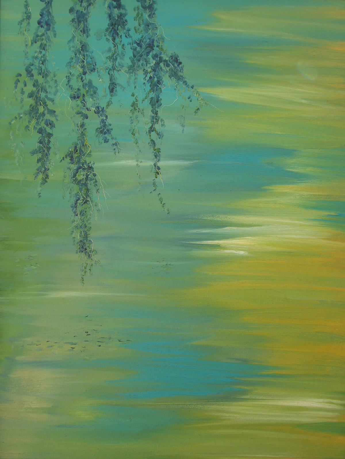 Branches and Water II by Animesh Roy, Expressionism Painting, Oil on Canvas, Highland color