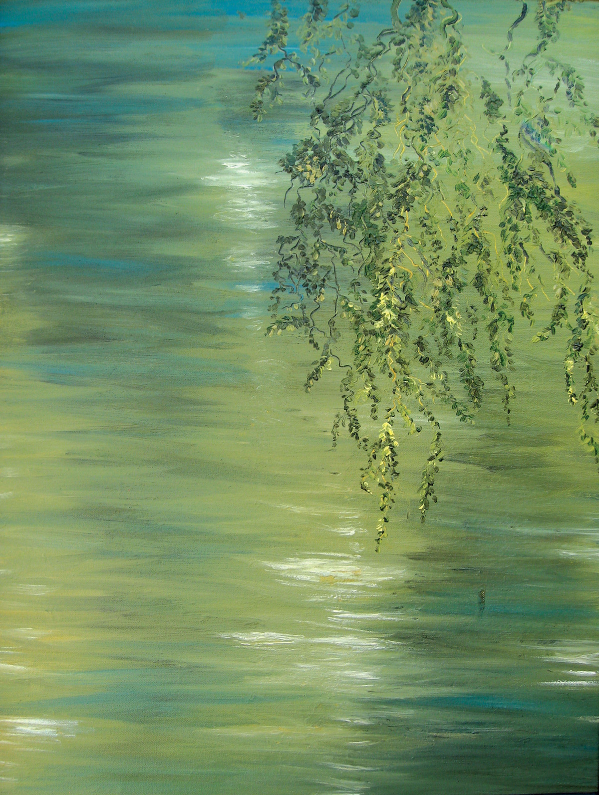 Branches and Water- III by Animesh Roy, Expressionism Painting, Oil on Canvas, Highland color