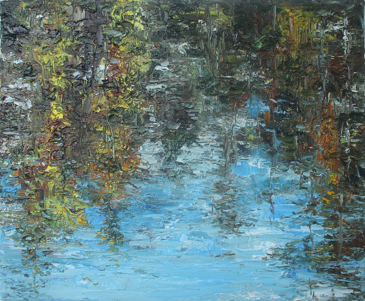 Reflection-3 by Animesh Roy, Expressionism Painting, Oil on Linen, Nandor color