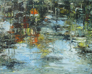 Reflection-4 by Animesh Roy, Abstract Painting, Oil on Linen, Smoke color