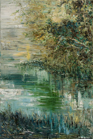 River Iławka by Animesh Roy, Expressionism Painting, Oil on Linen, Limed Ash color