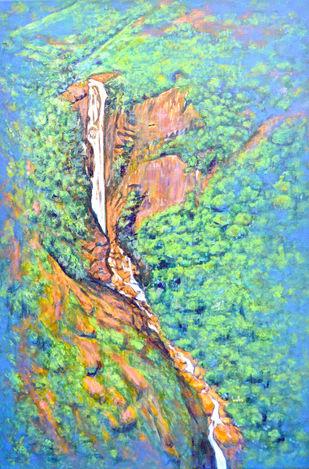 Katherine Falls by Usha Shantharam, Expressionism Painting, Acrylic on Canvas, Neptune color