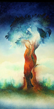 Untitled-1 by Prashant K Sarkar, Impressionism Painting, Oil on Canvas, Big Stone color