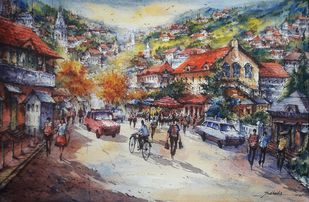 Shimla hill station-1 by Shubhashis Mandal, Impressionism Painting, Watercolor on Paper, Schooner color