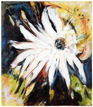 Daisy by Archana Jain, Abstract Painting, Acrylic on Canvas, Shark color