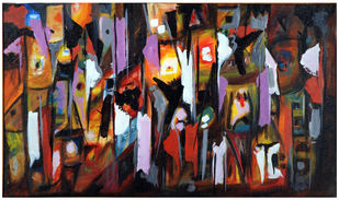 The good, the bad and the ugly by Archana Jain, Abstract Painting, Acrylic on Canvas, Tan color