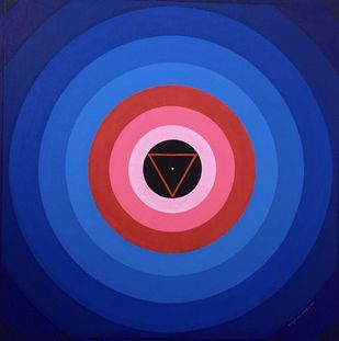Shiv Shakti by Tanaji Awaghade , Geometrical Painting, Acrylic on Canvas, Jacksons Purple color