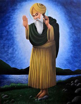 Guru Nanak Dev Ji by Kiran Singh, Photorealism Painting, Acrylic on Canvas, Havelock Blue color