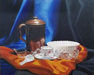 Still Life study by Kiran Singh, Realism Painting, Acrylic on Canvas, Chocolate color