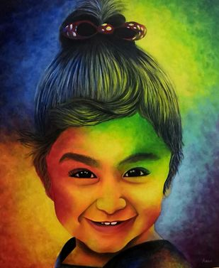 Innocence by Kiran Singh, Expressionism Painting, Acrylic on Canvas, Outer Space color