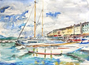 Yacht by Samiksha Gupta , Impressionism Painting, Watercolor and charcoal on paper, Quill Gray color