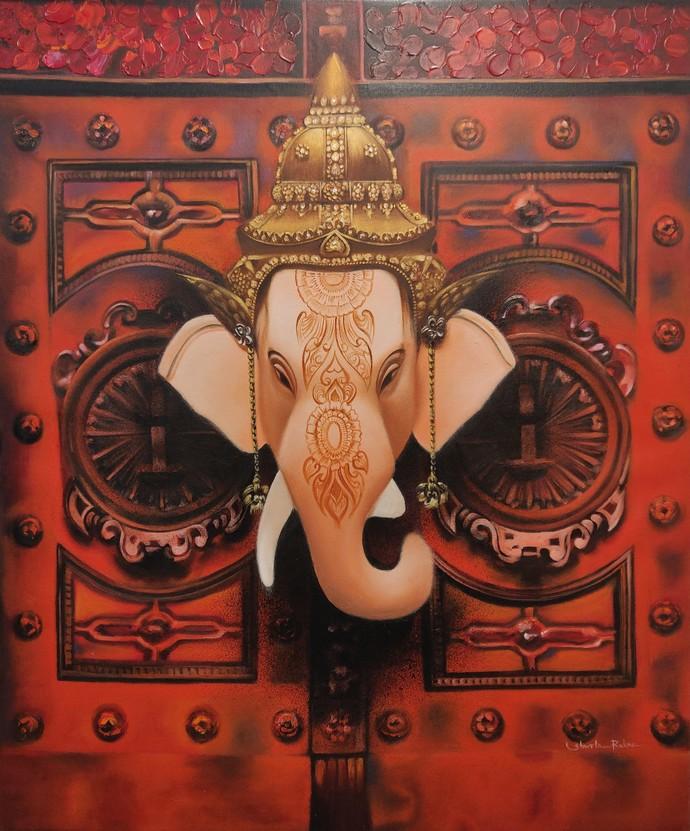 Gajamukh by Shweta Rukme, Expressionism Painting, Acrylic on Canvas, Nutmeg color