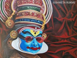 Shringara by Shweta Rukme, Expressionism Painting, Acrylic on Canvas, Congo Brown color