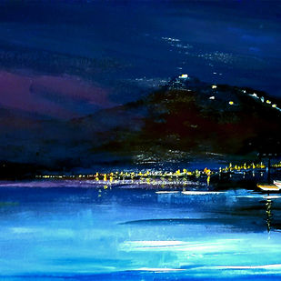 the Harbour lights by Nirmallyo Ghosh, Abstract Painting, Acrylic on Paper, Blue Zodiac color