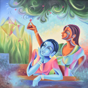 BASANT by Suman Verma, Expressionism Painting, Oil on Canvas,