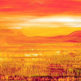 The Dawn by Nirmallyo Ghosh, Abstract Painting, Acrylic on Paper, Tango color