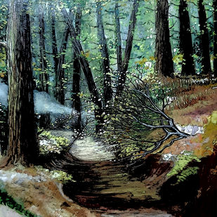The Mist by Nirmallyo Ghosh, Expressionism Painting, Acrylic on Paper, Log Cabin color