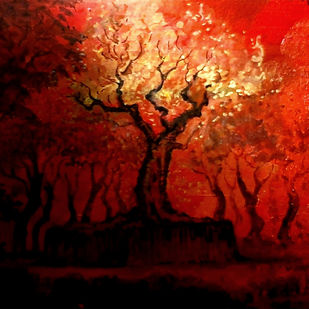 The untamed flame by Nirmallyo Ghosh, Abstract Painting, Acrylic on Paper, Rebel color