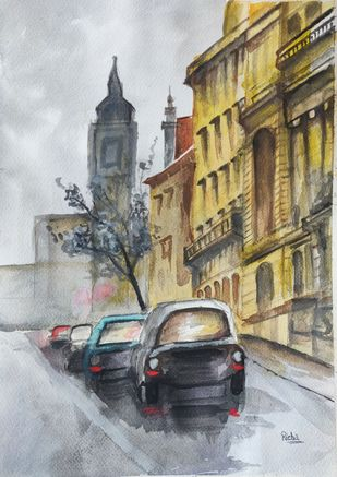 Rainy day by Richa Sikaria, Impressionism Painting, Watercolor and charcoal on paper, Pumice color