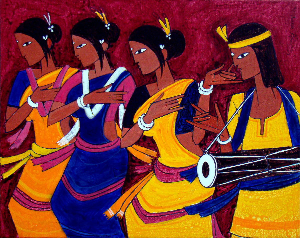 TRIBAL DANCE by Jiaur Rahman, Expressionism Painting, Acrylic on Canvas, violet color