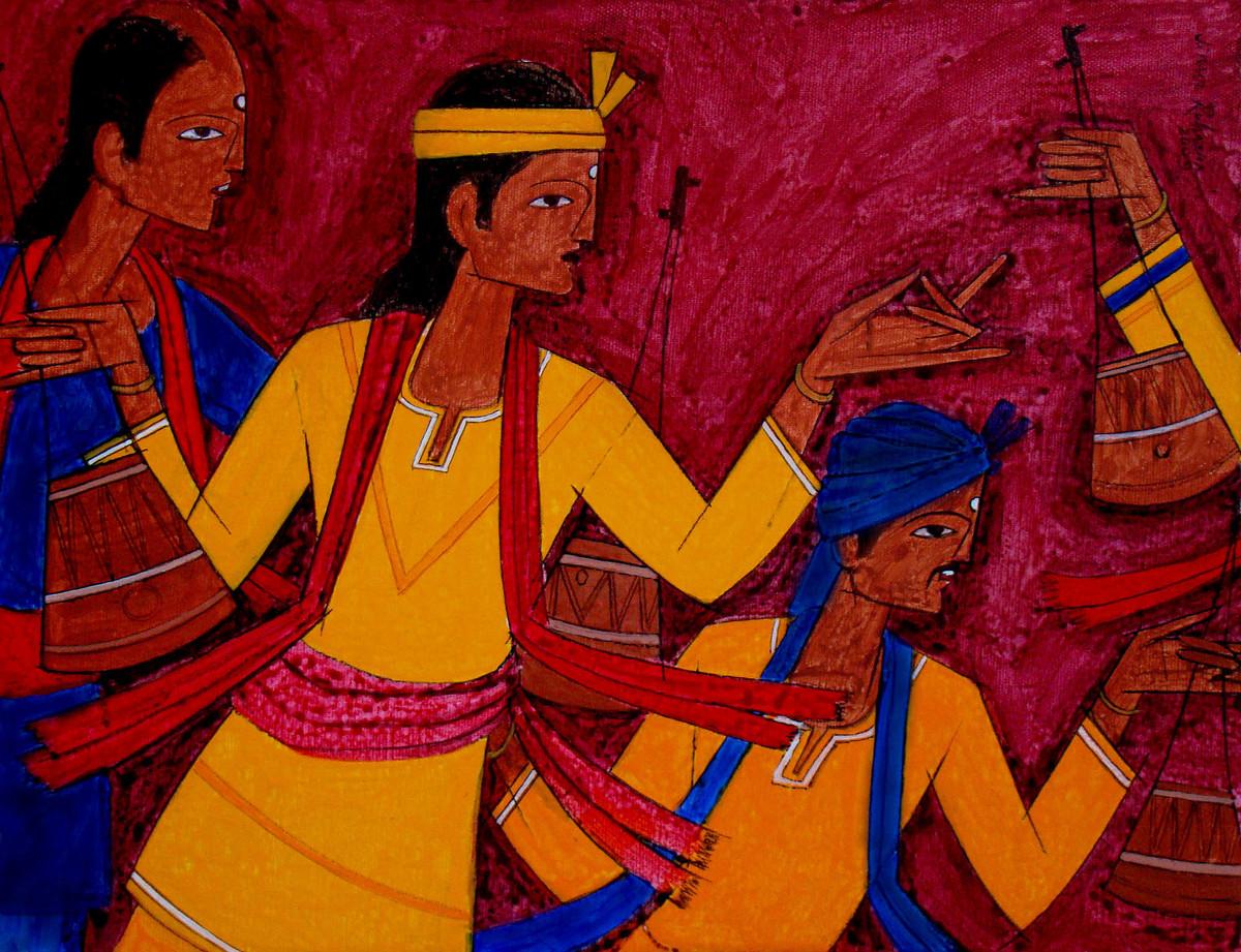 TRIBAL DANCE Digital Print by Jiaur Rahman,Expressionism