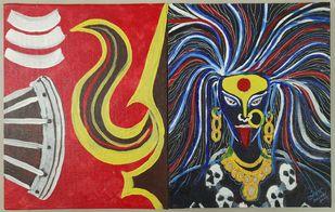 Bhadrakali by Ameya Vaidya , Expressionism Painting, Acrylic on Canvas, Sanguine Brown color