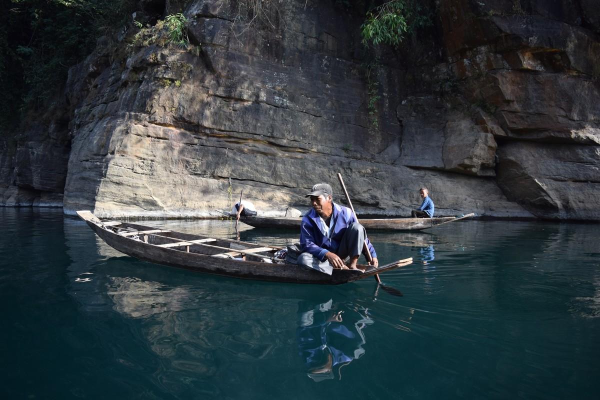 The Boatmen by Harsheen Kaur, Image Photography, Digital Print on Enhanced Matt, Ebony Clay color