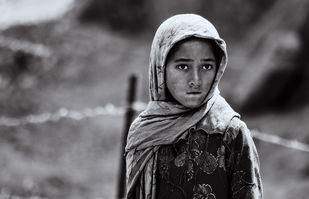 Portrait of a Tibetan Girl by SRIJAN NANDAN, Image Photography, CM Print on Canvas, Salt Box color