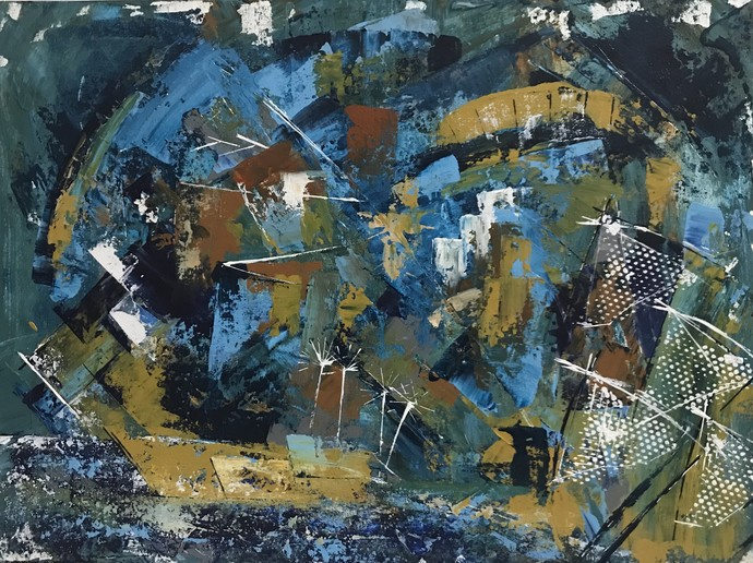 The fishing village by sapna anand, Abstract Painting, Acrylic on Board, Cape Cod color