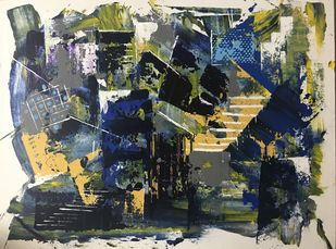 The City 1 by sapna anand, Abstract Painting, Acrylic on Board, Bone color