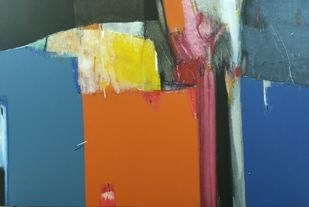 shadow becomes reality-29 by Anil Gaikwad, Abstract Painting, Acrylic on Canvas, Tussock color