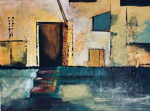 Doors II by sapna anand, Impressionism Painting, Acrylic on Board, Misty Moss color