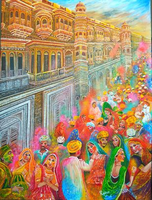 TRADITION OF INDIA : BLISSFUL HOLI by Rajshree Ranjita , Expressionism Painting, Acrylic on Canvas, Driftwood color
