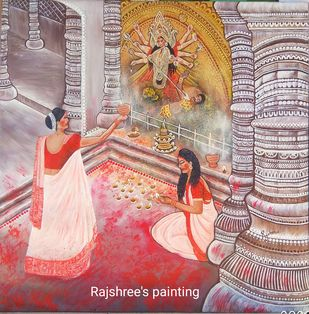 TRADITION OF INDIA : Sindurkhela by Rajshree Ranjita , Expressionism Painting, Acrylic on Canvas, Quicksand color
