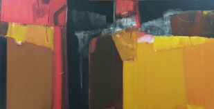 shadow becomes reality-30 by Anil Gaikwad, Abstract Painting, Acrylic on Canvas, Metallic Sunburst color