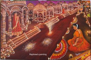 TRADITION OF INDIA : GORGEOUS DEEPAWALI by Rajshree Ranjita , Expressionism Painting, Acrylic on Canvas, Old Copper color