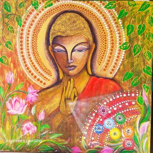 BUDDHA by Rajshree Ranjita , Expressionism Painting, Acrylic on Canvas, Tussock color