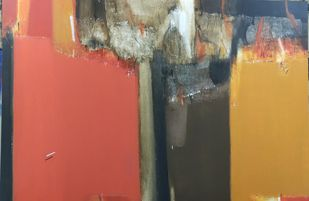 shadow becomes reality-28 by Anil Gaikwad, Abstract Painting, Acrylic on Canvas, Antique Brass color